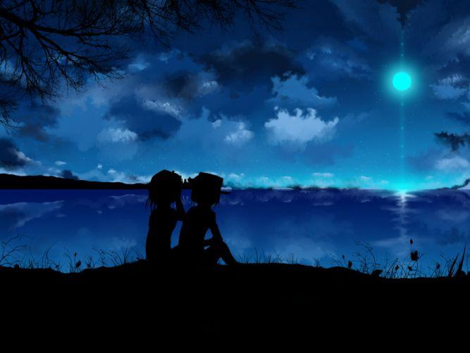 girls city clouds dark dusk dawn flowers grass hat maribel hearn moon scenic short hair sky stars touhou tree usami renko wallpaper