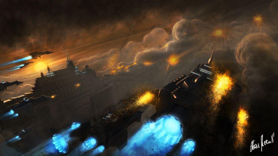 Art Warhammer 40 000 Space Marine Battle Barge ships city explosions attack smoke wallpaper