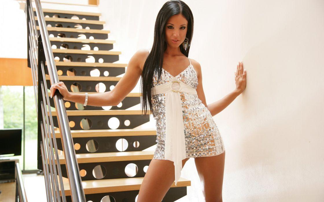 ashley bulgari girl brunette dress sexy stairs steps wallpaper