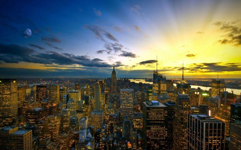 City evening sunset skyscraper wallpaper