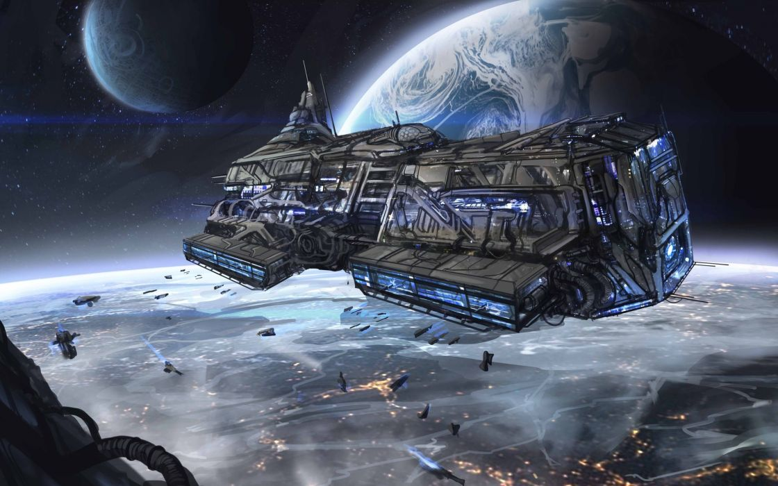 city ships space space planet art lights wallpaper