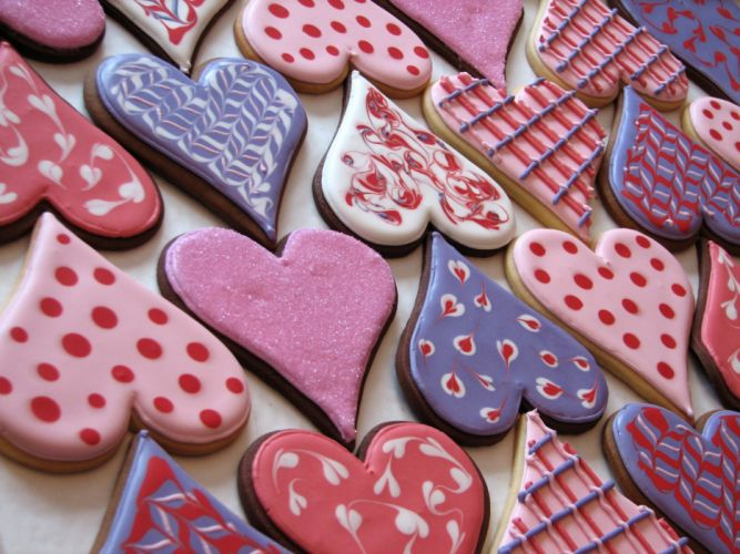 cookies heart colorful valentine's day wallpaper
