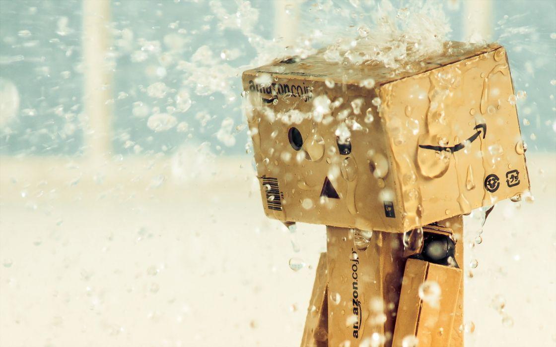 danbo drops amazon  box  rain wallpaper