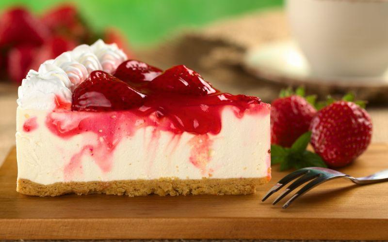 Dessert cake piece berries cheesecake strawberry wallpaper