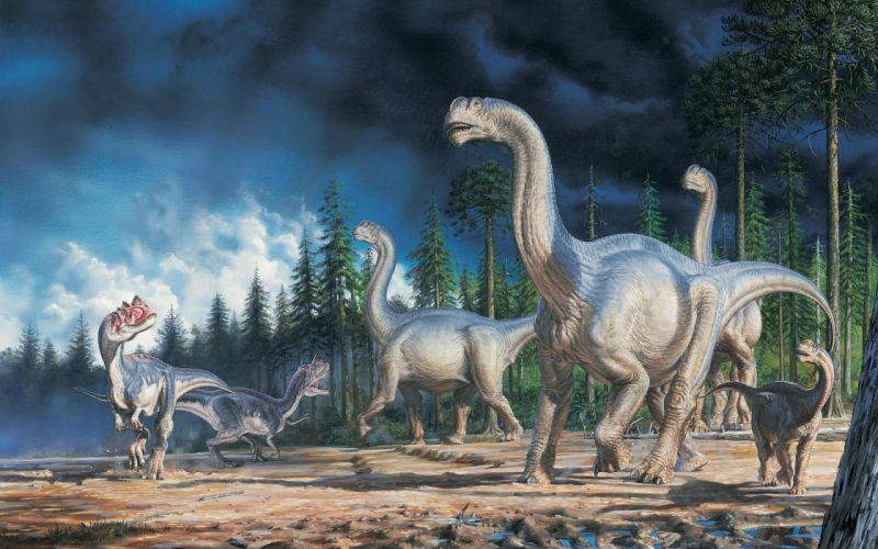 Dinosaurs Art Landscape wallpaper