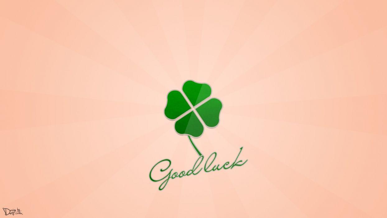 Good Luck Clover Dmitriy Ushakov Design Green wallpaper