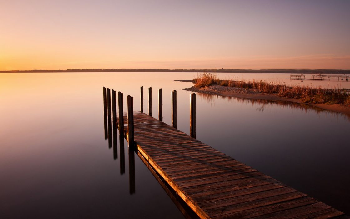 lake  sunset  bridge  landscape wallpaper
