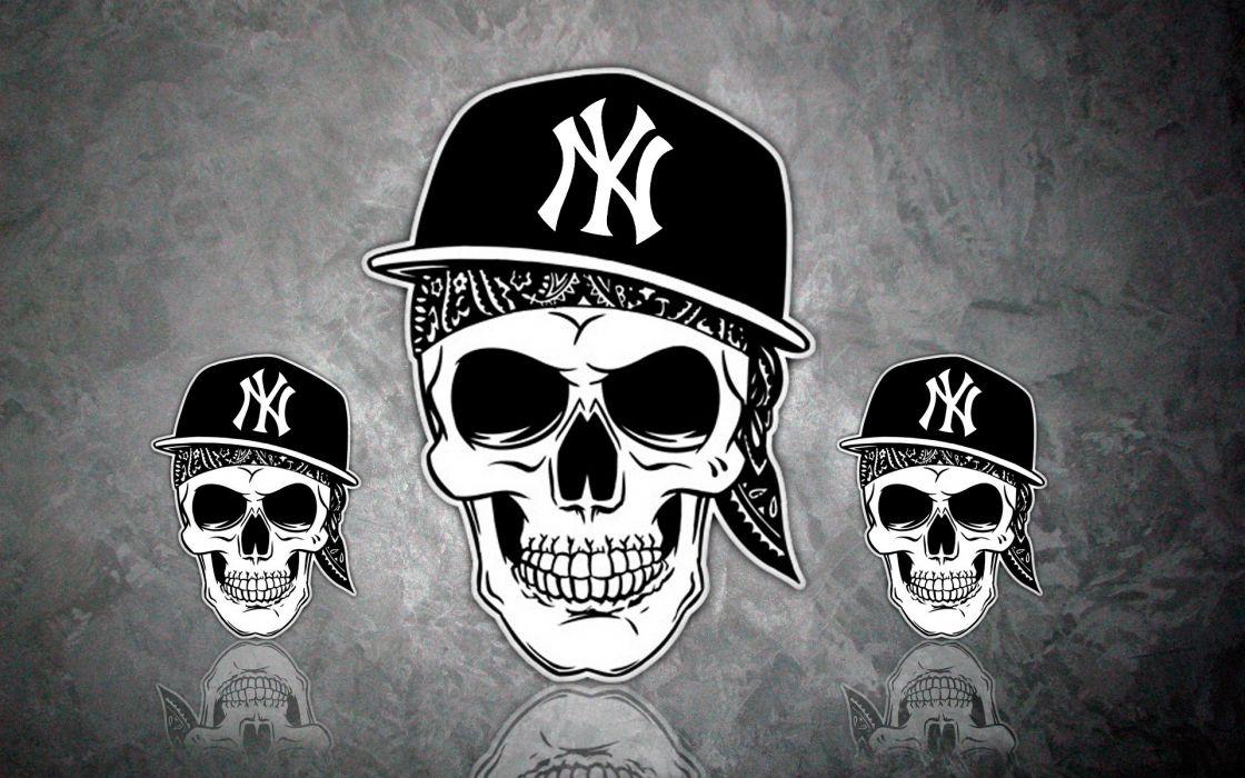 NY  cap  Skull  Hip Hop  skull  la Coka Nostra  rap dark wallpaper