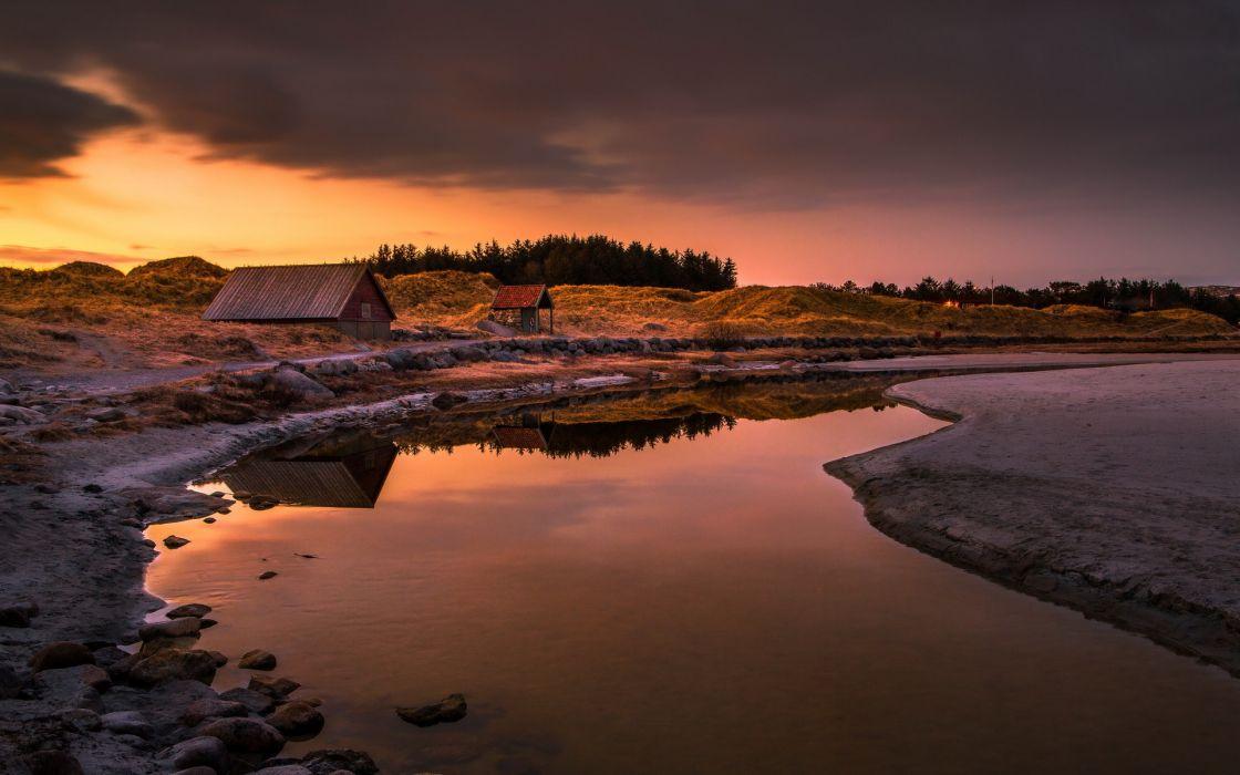 river sunset house landscape reflection winter wallpaper