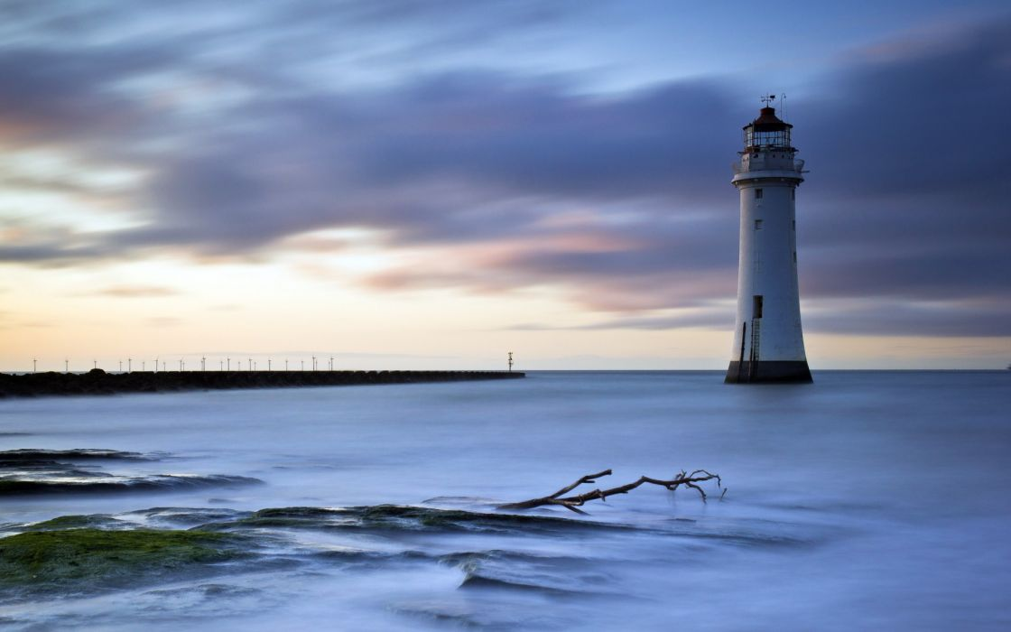 sea aeYaeY lighthouse  night  landscape ocean wallpaper