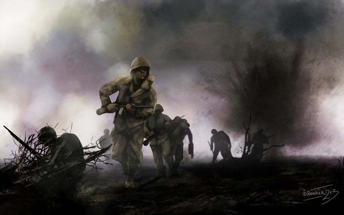 soldiers war art military battle wallpaper