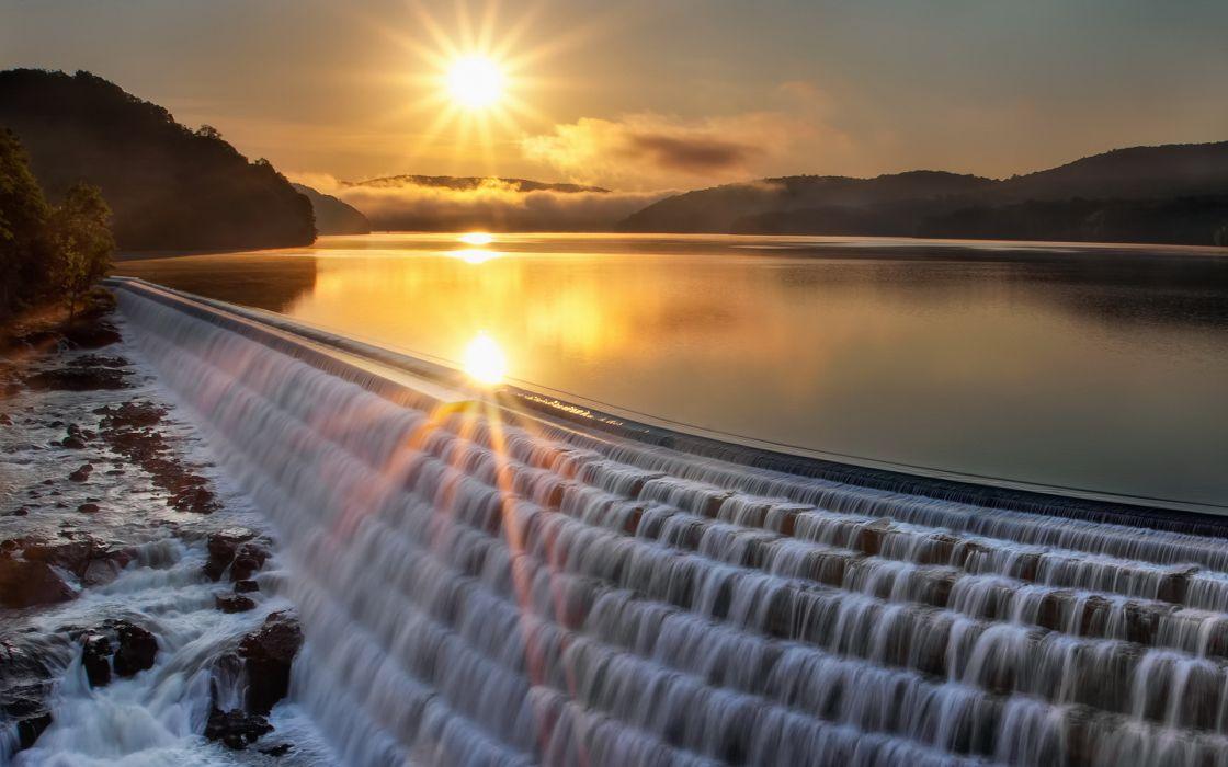 sunset lake platinum landscape reflection wallpaper