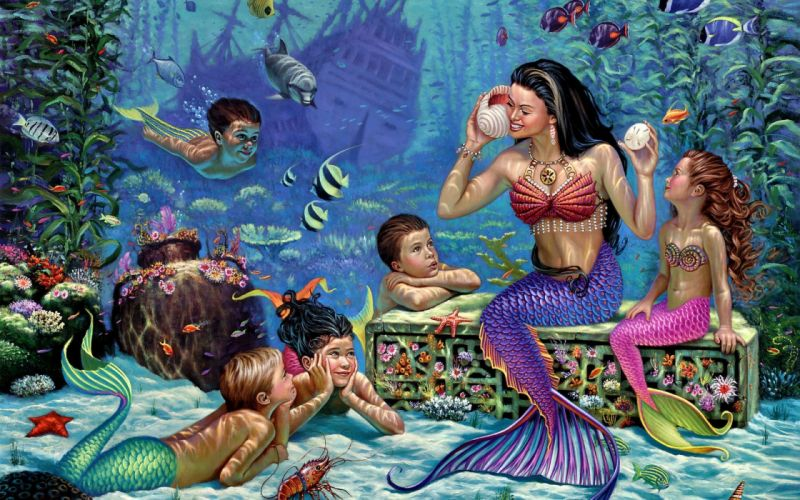 Wil Cormier mermaids children the seabed fish frigate wallpaper