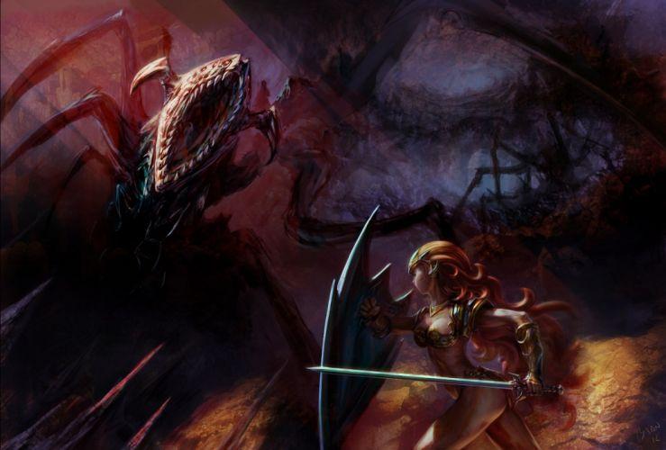 Battles Monsters Shield Fantasy Girls wallpaper