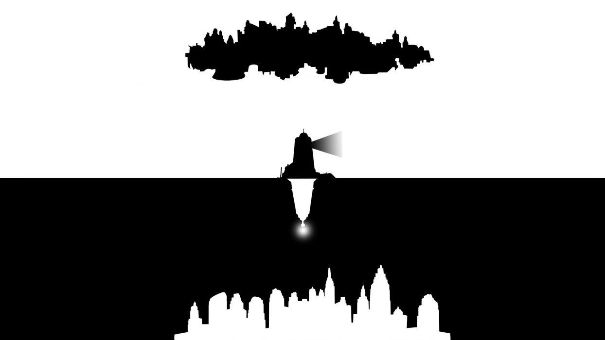 Bioshock Bioshock Infinite BW Lighthouse wallpaper