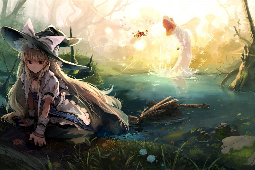 blonde hair dress eho (icbm) forest hakurei reimu hat kirisame marisa long hair torn clothes touhou tree wet wallpaper