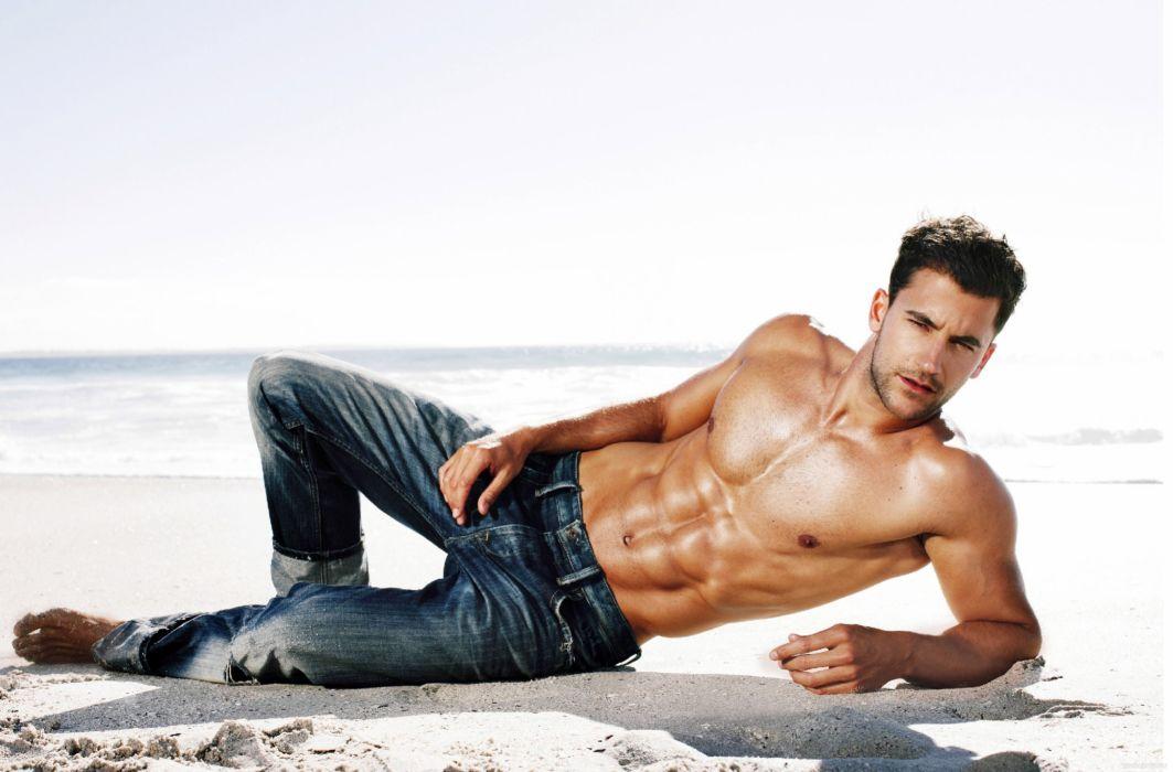 Man Bodybuilding Jeans Sand wallpaper