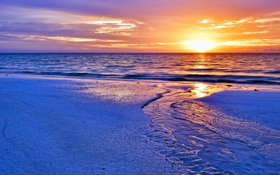 Sunset Beach Ocean wallpaper