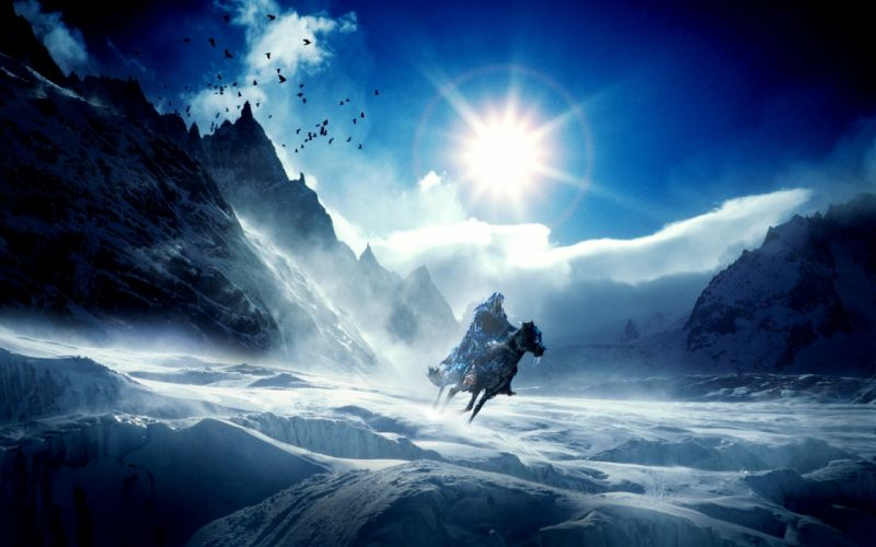 Warriors Mountains Scenery Sky Snow Fantasy wallpaper