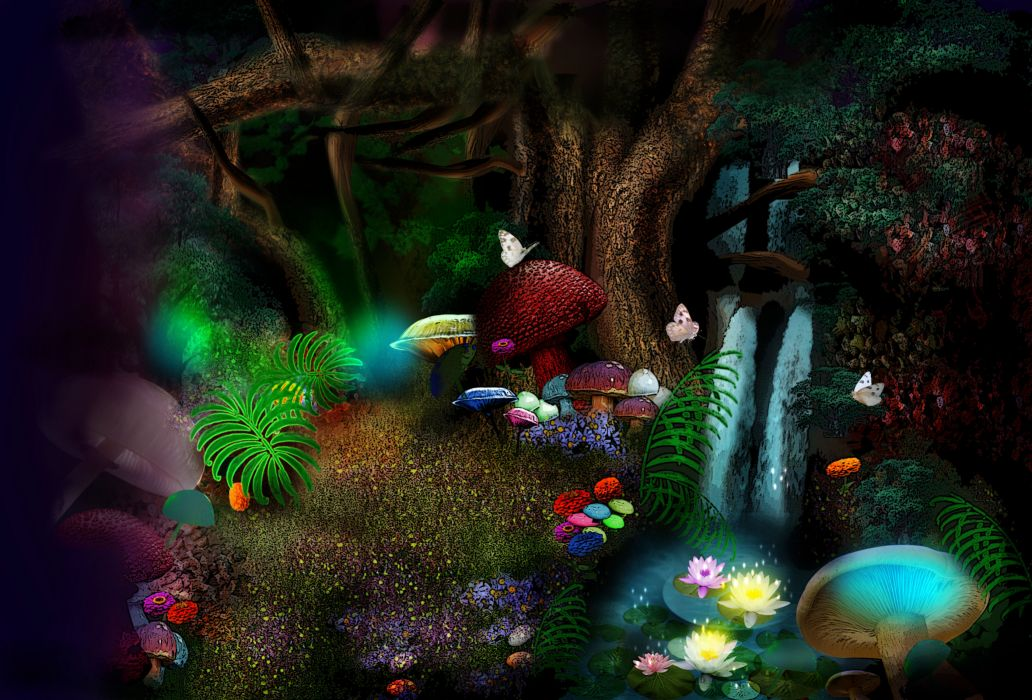 3d nature phantasmagoria butterfly leaves forest magic flowers      d wallpaper