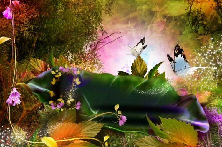 3d nature phantasmagoria butterfly leaves forest magic flowers wallpaper