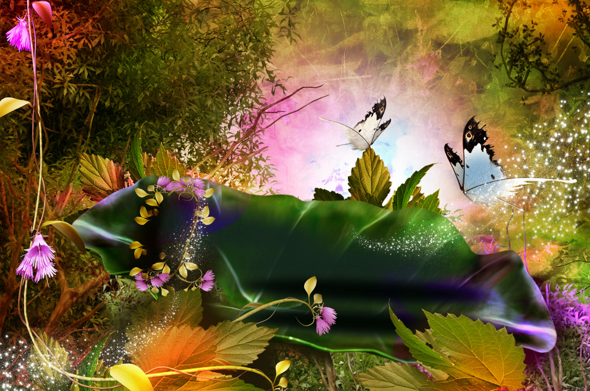 3d nature phantasmagoria butterfly leaves forest magic flowers wallpaper | 1920x1274 | 69760 | WallpaperUP