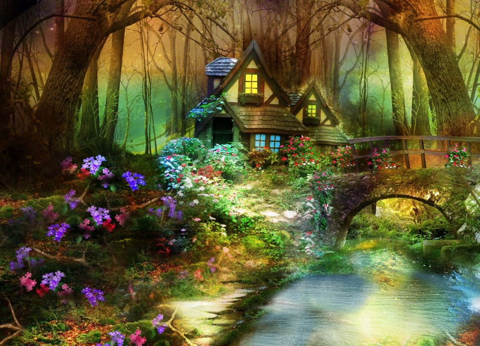 3d nature phantasmagoria fantasy flowers forest trees flowers house bridge wallpaper