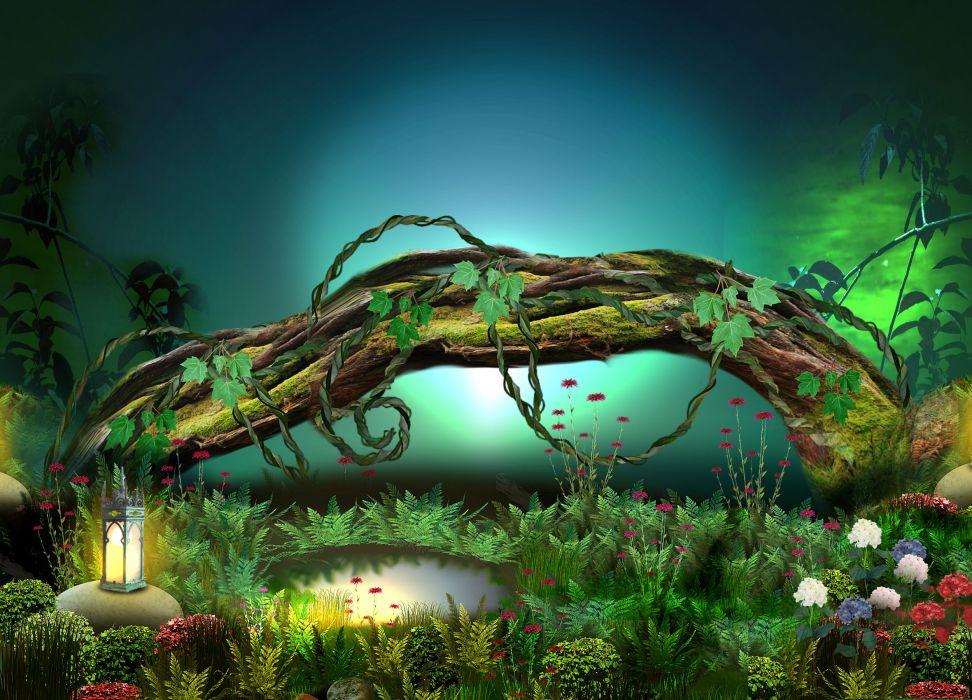 3d nature phantasmagoria fantasy flowers forest wallpaper