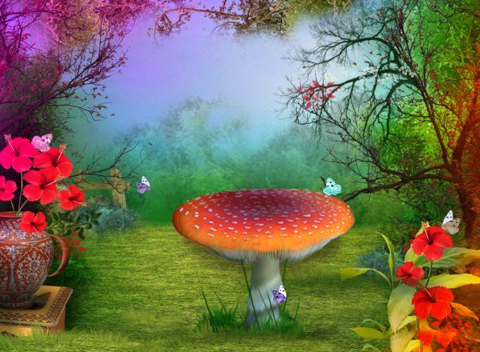3d nature phantasmagoria mushroom butterfly flowers wallpaper