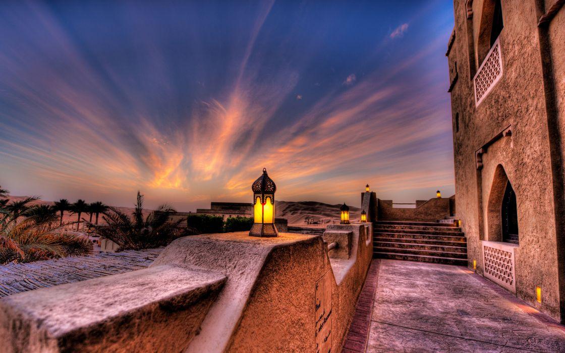 Abu Dhabi UAE hotel night sunset lights palm trees wallpaper