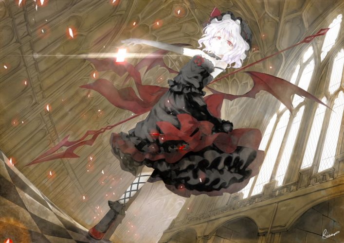 alongriver dress goth-loli photoshop red eyes remilia scarlet short hair signed touhou vampire weapon white hair wings wallpaper