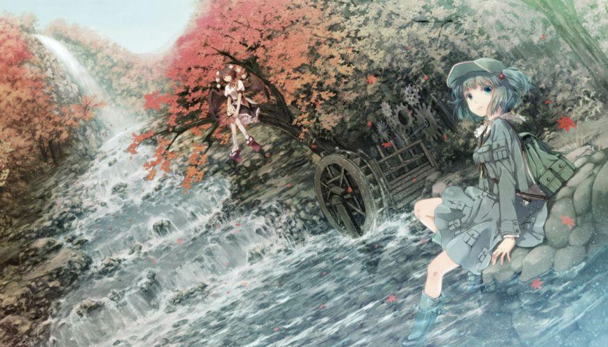 animal ears kawashiro nitori miyuki ruria shameimaru aya touhou twintails water waterfall wings wallpaper