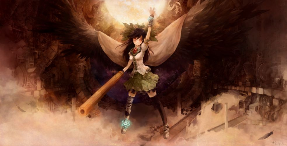 arctic reiuji utsuho thighhighs touhou weapon wings wallpaper