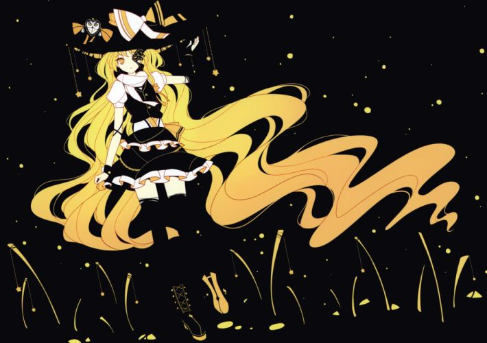 black blonde hair boots hat ideolo kirisame marisa long hair scan skirt thighhighs touhou yellow eyes wallpaper