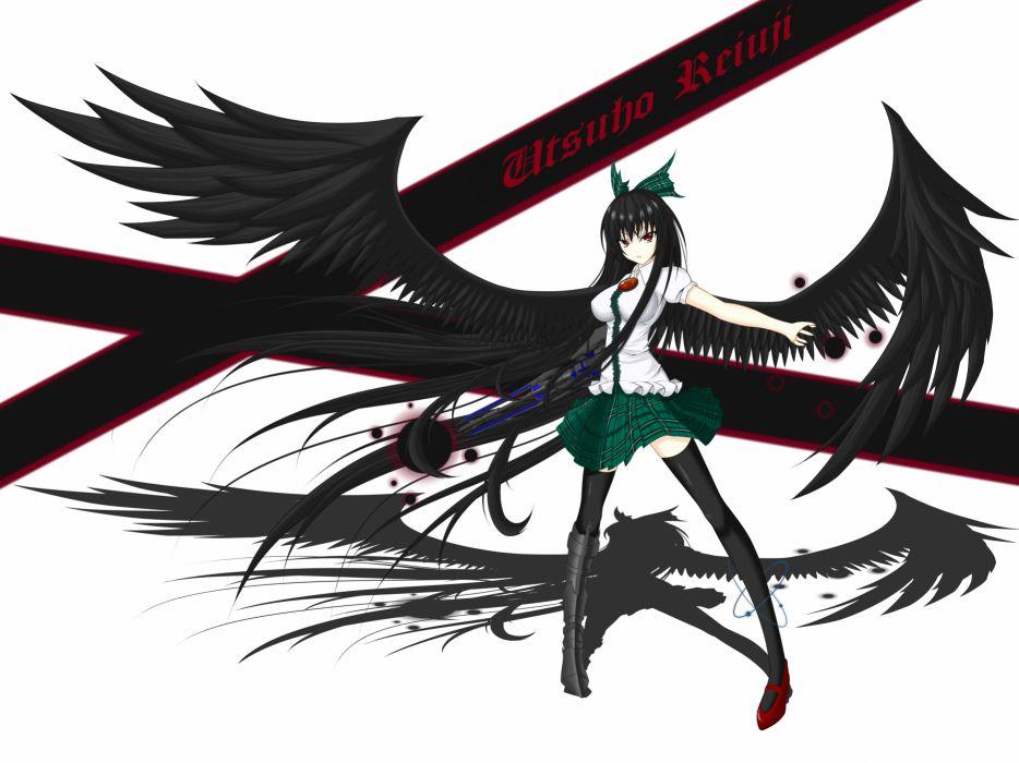 black hair bow long hair minami628 red eyes reiuji utsuho thighhighs touhou weapon white wings wallpaper