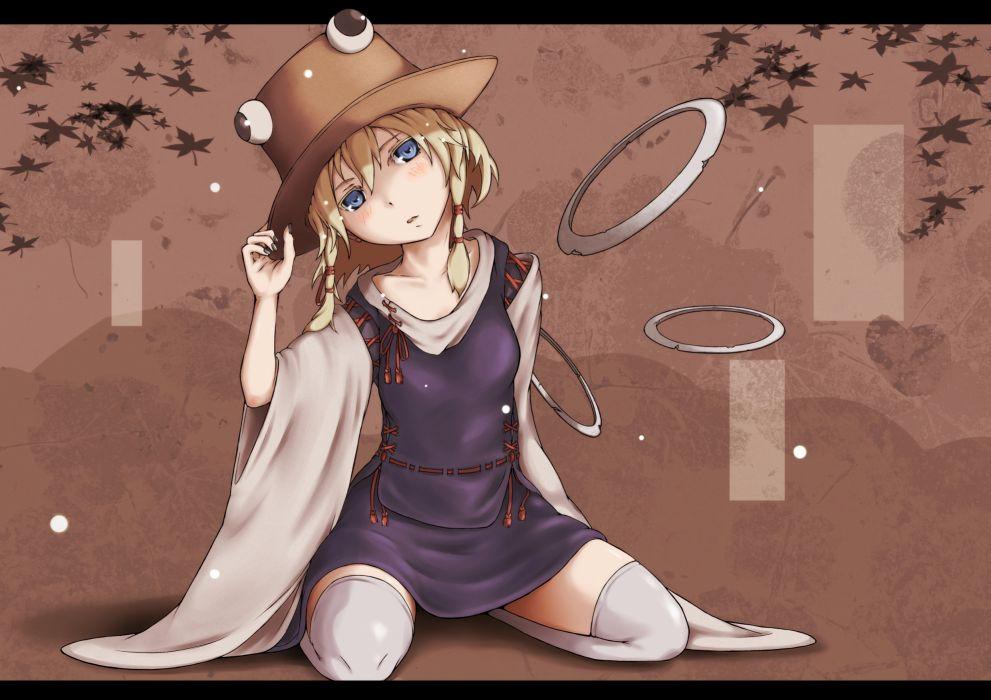 blonde hair blue eyes hat moriya suwako short hair thighhighs tommy (ha kka) touhou wallpaper