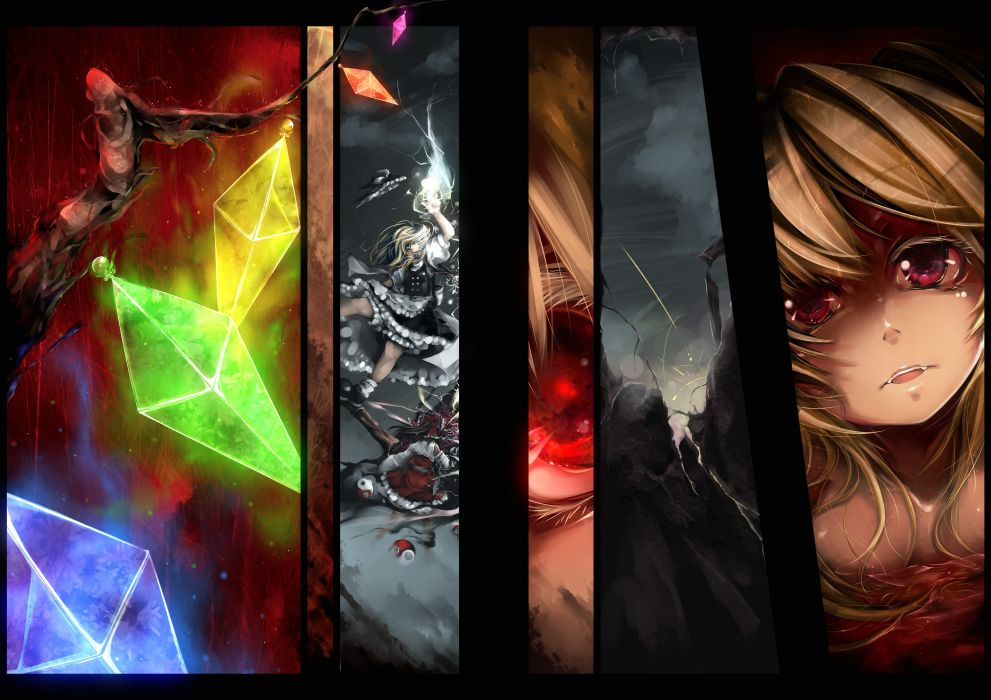 blonde hair flandre scarlet hakurei reimu hat kirisame marisa rain red eyes serizawa mutsuki touhou wings wallpaper
