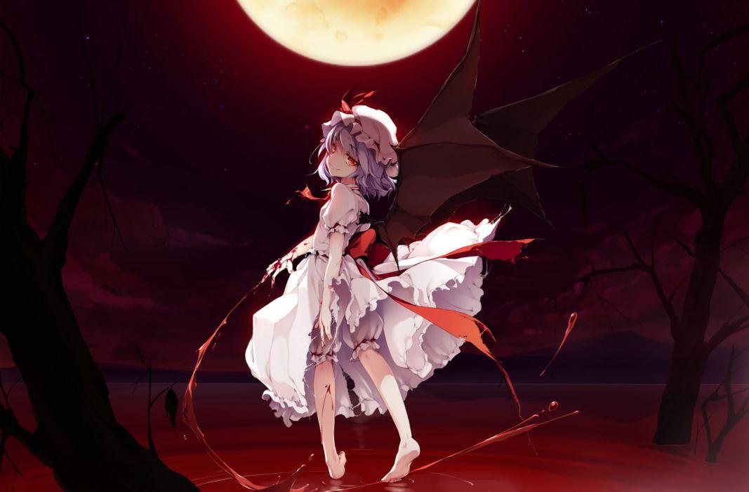 blood dress ke-ta moon red eyes remilia scarlet short hair torn clothes touhou vampire wings wallpaper