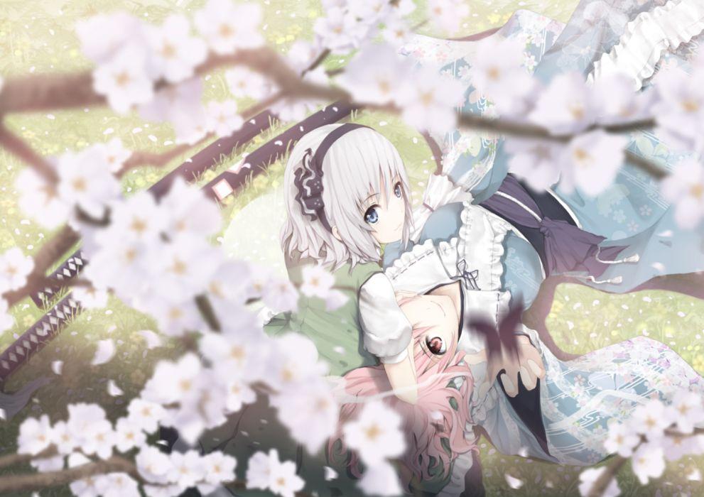 blue eyes butterfly flowers katana konpaku youmu pink hair saigyouji yuyuko sword tamamono atae touhou weapon wallpaper