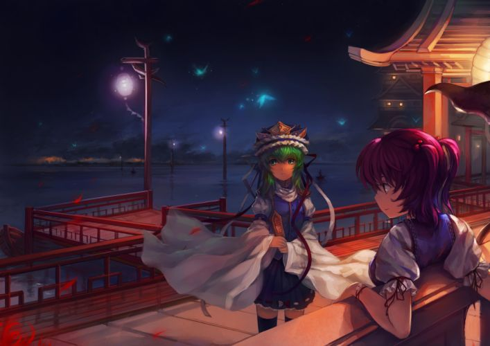 boat clouds green eyes green hair hat night onozuka komachi pink hair s_advent shikieiki yamaxanadu sky thighhighs touhou water wallpaper