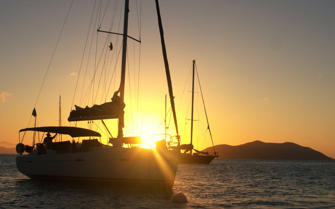 Boats Sail Boat Sunlight Sunset Ocean wallpaper