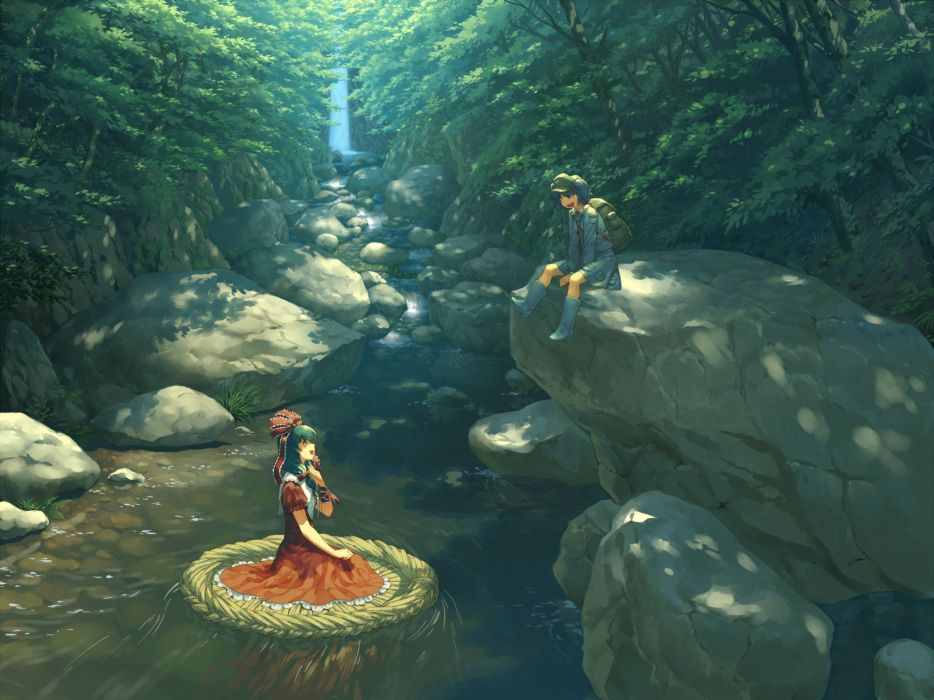 boots dress forest hat kagiyama hina kawashiro nitori om (carbohydratism) touhou water waterfall wallpaper