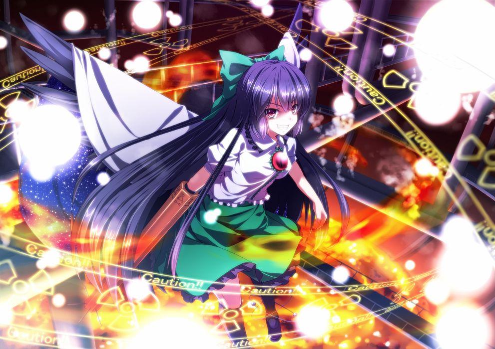 bow long hair purple hair red eyes reiuji utsuho ryosios touhou weapon wings wallpaper