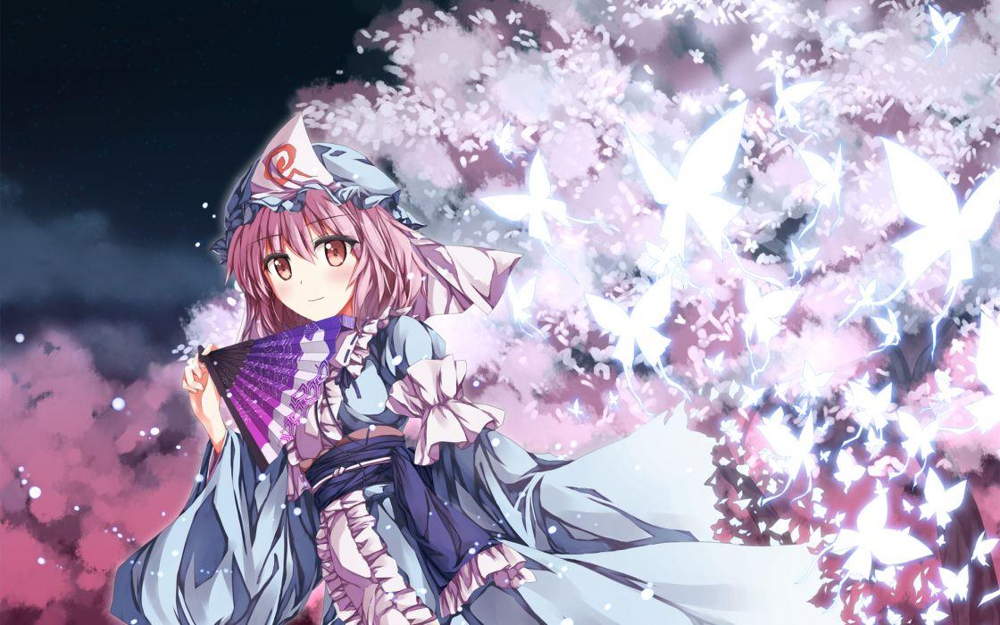 butterfly dress fan petals saigyouji yuyuko shake touhou wallpaper