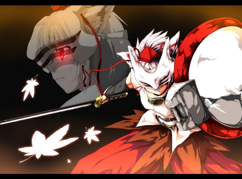 chaigidhiell inubashiri momiji katana mask red eyes sword touhou weapon wallpaper