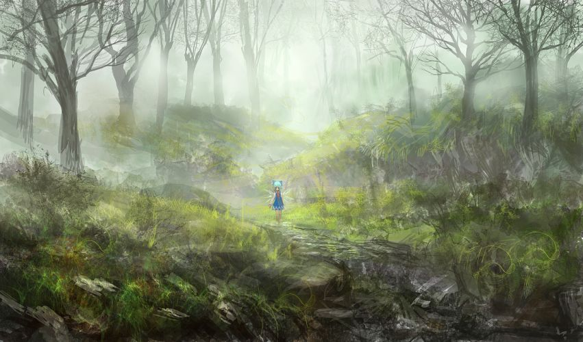 cirno dress forest lm7 (op-center) scenic touhou tree wings wallpaper