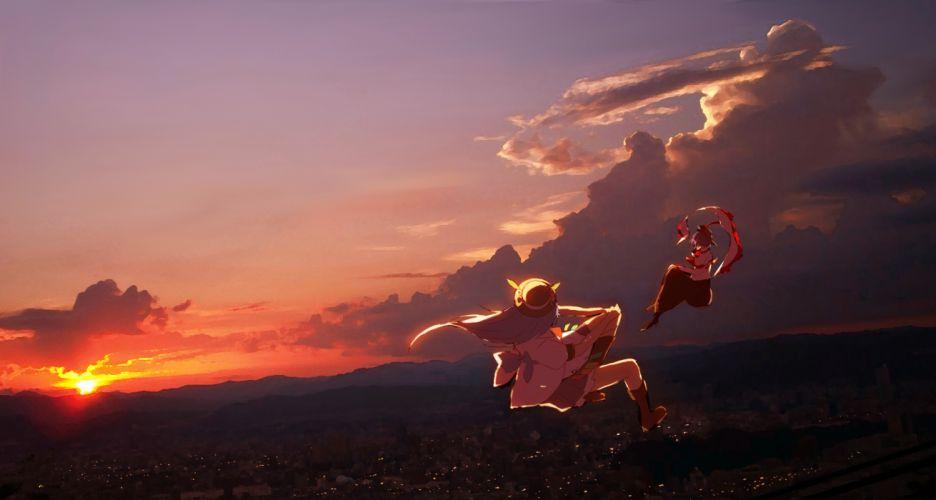 clouds hinanawi tenshi nagae iku scenic siirakannu sky sunset touhou wallpaper