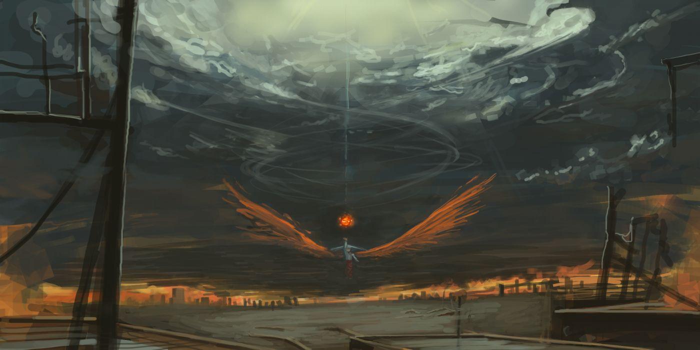 code-aa fujiwara no mokou touhou wings wallpaper