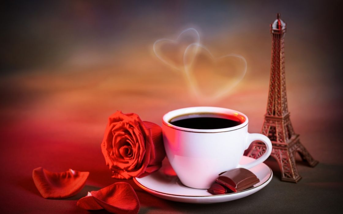 cup coffee petals red rose eiffel tower flowers heart wallpaper