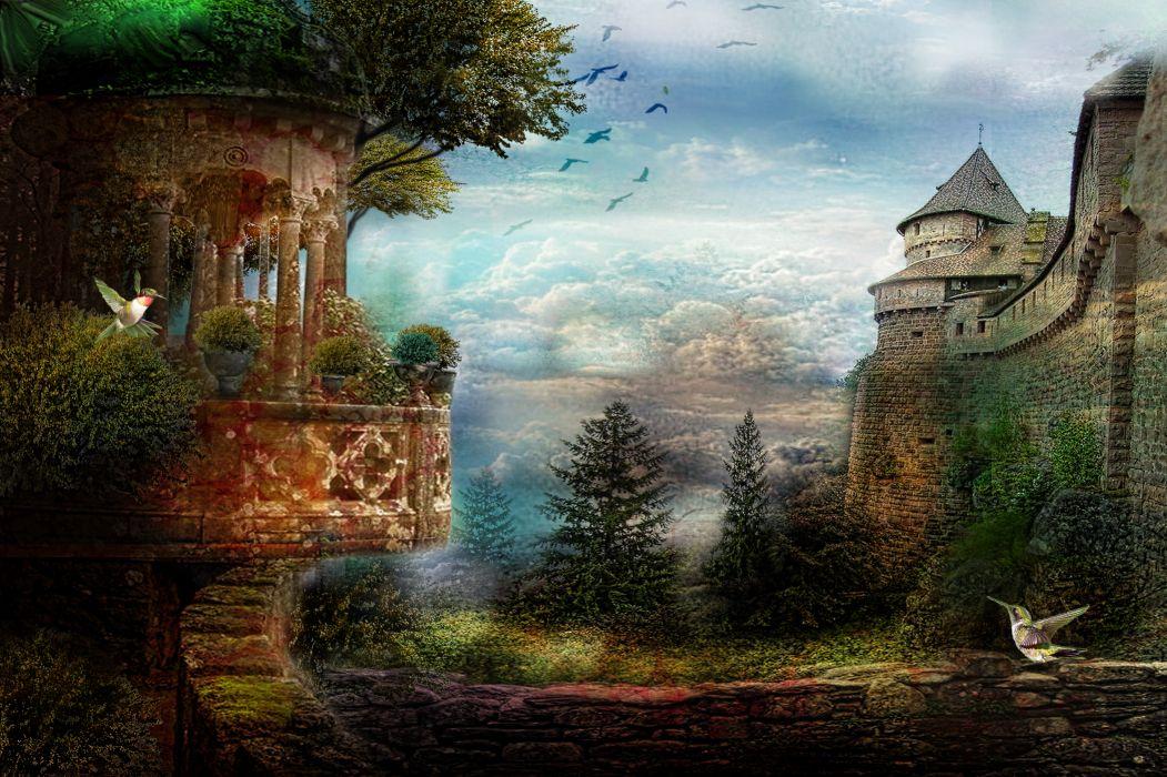 digital art 3d phantasmagoria castle humming bird wallpaper